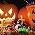 Closeup Of Candies With Pumpkins  by Sandra Cunningham