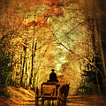 Coach On A Road In Autumn by Jill Battaglia