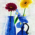 Cobalt Blue Glass Bottles And Gerbera Daisies by Kathy Clark