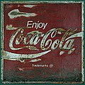 Coca Cola Green Red Grunge Sign by John Stephens