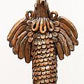 Cock Totem Bronze Gold Color Wings Beak Hair Eyes Scales Feathers by Rachel Hershkovitz