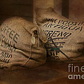 Coffee Beans In Burlap Bags by Susan Candelario