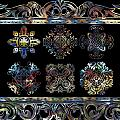 Coffee Flowers Ornate Medallions 6 Piece Collage Aurora Borealis by Angelina Vick