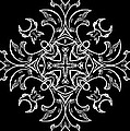 Coffee Flowers Ornate Medallions Bw Vertical Tryptych 1 by Angelina Vick