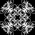 Coffee Flowers Ornate Medallions Bw Vertical Tryptych 2 by Angelina Vick