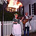 Colonial Musicians By Firelight by Sally Weigand