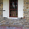 Colonial Shutters Window Frame Stone Wall Wood Box by John Stephens