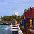 Colorful Cozumel Cafe by Renee Skiba