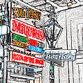 Colorful Neon Sign On Bourbon Street Corner French Quarter New Orleans Colored Pencil Digital Art by Shawn O'Brien