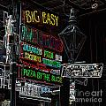 Colorful Neon Sign On Bourbon Street Corner French Quarter New Orleans Glowing Edges Digital Art by Shawn O'Brien