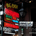 Colorful Neon Sign On Bourbon Street Corner French Quarter New Orleans Watercolor Digital Art by Shawn O'Brien