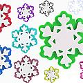 Coloured Snowflakes Isolated by Simon Bratt Photography LRPS