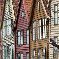 Colourful Houses In A Row Bergen Norway by Keith Levit
