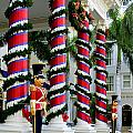 Columns In Christmas Wrap by Linda Phelps