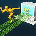 Computer Artwork Of E-mail As A Sprinter by Laguna Design