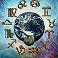 Computer Artwork Of The Zodiac Signs Around Earth by Victor Habbick Visions