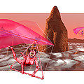 Computer Artwork Of Women Hang-gliding On Mars by Victor Habbick Visions