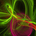 Computer Generated Green Magenta Abstract Fractal Modern Art by Keith Webber Jr