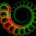 Computer Generated Green Red Abstract Fractal Flame Modern Art by Keith Webber Jr