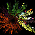 Computer Generated Red Yellow Green Abstract Fractal Flame Black by Keith Webber Jr