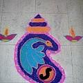 Conch Design Rangoli by Sonali Gangane