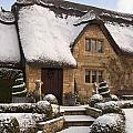 Cotswolds Cottage Covered In Snow by Andrew  Michael