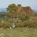 Cottage At Broadham Green Surrey In Sunset Light by Helen Allingham