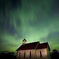 Country Church And Northern Lights by Mark Duffy