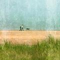 Couple On Beach With Dog by Jill Battaglia