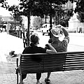 Couple Resting On A Downtown Bench On A Windy Day by Gray  Artus