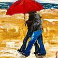 Couple Under A Red Umbrella by Patricia Awapara