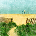 Couple Walking Dog On Beach by Jill Battaglia