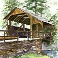 Covered Bridge At Knoebels  by Nancy Patterson