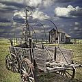 Covered Wagon And Farm In 1880 Town by Randall Nyhof