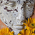 Cracked Face And Sunflowers by Garry Gay