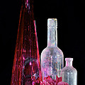 Cranberry And White Bottles by Phyllis Denton