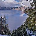 Crater Lake And Approaching Clouds by Greg Nyquist