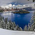 Crater Lake And Fresh Snow Panorama by Greg Nyquist