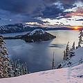 Crater Lake Snow Sunrise by Greg Nyquist