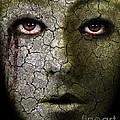 Creepy Cracked Face With Tears by Jill Battaglia