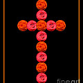 Cross Of Red And Orange Roses by Rose Santuci-Sofranko