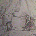 Cup And Saucer On Material by Roena King