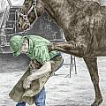 Custom Made - Farrier And Horse Print Color Tinted by Kelli Swan