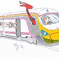Cute Cartoon High Speed Train And Animals by Mike Jory