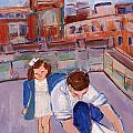 Dad And Me On Rooftop On Hoe Street Brooklyn by Elzbieta Zemaitis