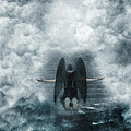 Dark Angel Kneeling On Stairway In The Clouds by Jill Battaglia