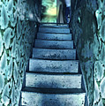 Dark Staircase With Man At Top by Jill Battaglia