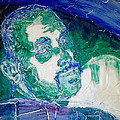 Death Metal Portrait In Blue And Green With Fu Man Chu Mustache And Cracking Textured Canvas by M Zimmerman