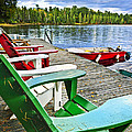 Deck Chairs On Dock At Lake by Elena Elisseeva
