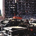Destroyed Automobiles Near The Bombed by Everett